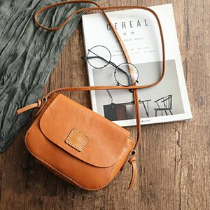 Vintage Style Authentic Real Cowskin Women Small Messenger Bag Genuine Leather Lady Single Cross Shoulder Bag Female Mini Purse