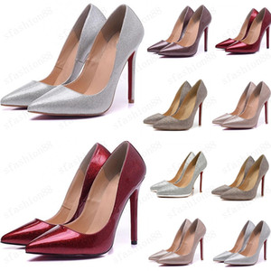 glimmer radiate shoes So Kate Styles 8cm 10cm 12cm High Heels Shoes Red Bottom Nude Color Genuine Leather Point Toe Pumps Rubber SIZE 35-45