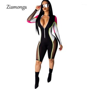 Ziamonga Bodycon Sexy Overall Shorts für Frauen Langarm Fitness Rompers Womens Overall Weibliche Streetwear Playsuit Frauen1