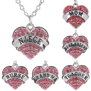 Collana membro tra affetto a forma di affetto Diamond Family Heart Heart Heart Collanes Lettera del Necxzox