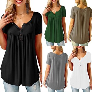 Womens Casual Short Sleeve Loose T Shirts Solid Color Button Pleated Tunic Tops v neck female pullover tops summer clothes