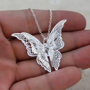 Fashion Women's Jewelry Silver Butterfly Pendant Necklace Chain Women Lovely Butterfly Pendant Chain Necklace Jewelry