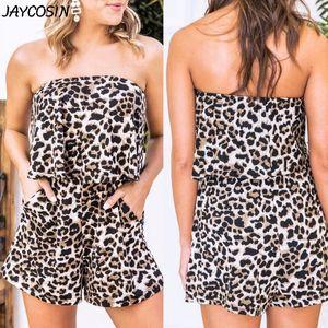 JAYCOSIN Women Fashion Leopard Print Pocket Sleeveless Tube top Slim Mini Rompers Shorts Playsuits Summer Casual Jumpsuit mujer