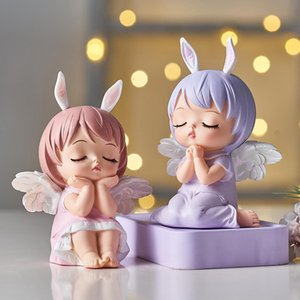 Cute Angel Baby Figurines Fairy Garden Miniatures Resin Ornaments Girl Elf Statue Home Decoration Room Decor Kids Birthday Gift 1007