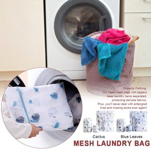 5pcs set Underwear Socks Mesh Laundry Bag Portable For Washing Machine Bathroom Reusable Home Travel Protect Clothing Cute Print