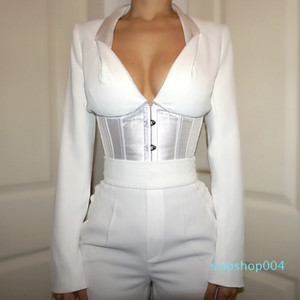Sexy V Neck BUSTIER BLOUSE Long Sleeve Shirts Women 2020 New Arrival Women Lace Up Tops Corset Elegant Bandage Tops