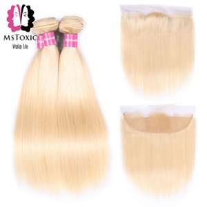 Mstoxic 613 Blonde Brazilian Straight Hair Bundles With Frontal Closure 100% Human Hair Weave Bundles Remy Hair Extensions