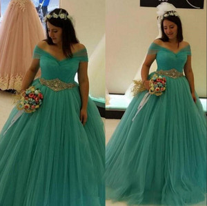Plus Size Sweet 16 Prom Formal Gowns with Beaded Off Shoulder Quinceanera Dresses Long Tulle Bride Vestidos De Novia