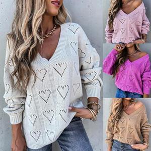 Primavera de la mujer Autumn Love Heart Hollow Ganchet suéter suelto manga larga blusa Top Lady Knitwear All-Match1