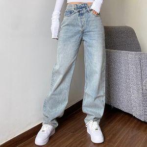 Pantaloni jeans diritti Baggay a vita alta mamma jeans delle donne Donne 2020 Bianco Nero Moda allentate casuali non definiti pantaloni
