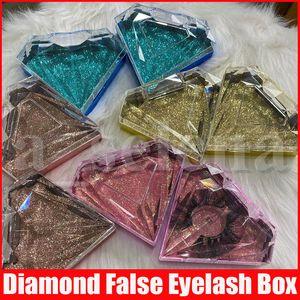 Bling ciglia Packaging figura del diamante di scintillio Ciglia finte Imballaggio scatola vuota ciglio della cassa del finte ciglia Scatole di plastica