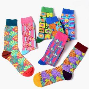Nouvelle Europe Les Etats-Unis Tide Marque Femmes Happy Socks couleur drôle Couple Illustration Chaussettes Pape Série Sokken
