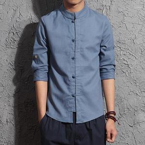 Erkekler Pamuk Keten Gömlek Üç Çeyrek Kol Gömlek Tai Chi Suit Çin Tarzı Tang Giyim Hombre Camisa1