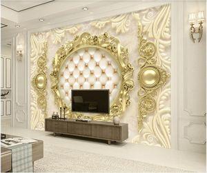 Custom photo wallpaper 3d wall murals wallpaper Modern gold European pattern soft package TV background wall paper home decoration