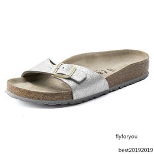 zapatillas de corcho mujeres usan sandalias de cuero plano zapatillas serie de Madrid