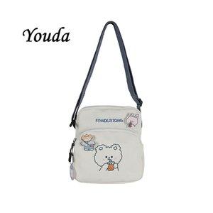 YouDa Neue Korea 2020 Frauen Leinwand Student Bear Book Phone Crossbody Taschen für Mädchen Niedlichen Cartoon Schulter Pack Kleine Quadrattasche C1223