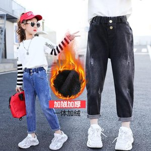 New 2021 Girl's Winter Velvet Thickened Jeans Children's Stylish High Quality Label Loose Comfortable Warm Denim Pants