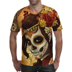 Men's T-shirt Vintage skull 3 impression T-shirts are scary shirts men's quality is camisetta short sleeve o '