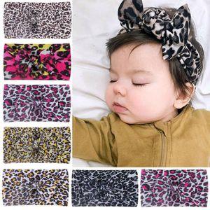 Baby Girls Headband Leopard Bow Knot Hairbands Elastic Nylon Hair Bows Turban Newborn Headwear Hair Accessories 6 Designs Optional