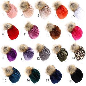 New 18 color Autumn Winter Infant Baby Pleuche Hat Fur Ball Turban Headwrap Hats Girls Children Hats Kids Cap Beanies