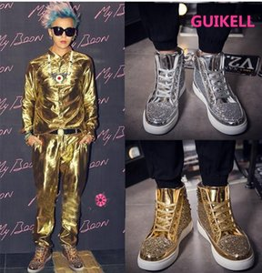 GUIKELL European personality trend women and men's style shoes high top board shoes version riveted social short boots