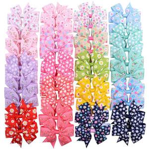 Bebek Kız Saç Yaylar Klip Ayçiçeği Baskı Grogren Ribbon Yay Firkete Çocuk Barrette Butik Saç Kelepçesi Kız Saç Aksesuarları 20 Renkler