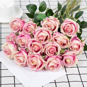 Flor artificial Single Branch Rose Rose Flannel Seda Silida Simulatio Flower Bouquet para la fiesta de bodas Decoración del hogar Decoración de San Valentín HWF4183