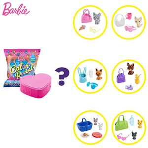 Original Barbie Accessories Color Reveal Pet Set Boneca In Heart-Shaped Case Toys for Girls Gift Blind Box Toys with 5 Surprises Y0112