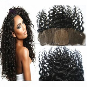 Brazilian Deep Curly Silk Base Lace Frontal 13x4 8A Unprocessed Human Hair Silk Top Lace Frontal Closure Piece With Baby Hair Bleached Knots