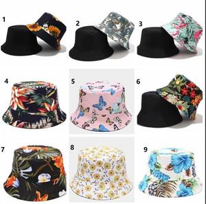 Unisex Хлопок Ведро шляпа Мода Женщины Цветок Цветочный Распечатать Двухсторонняя Носить Обратимые Ковшиные Шляпы Рыбацкие Кин Солнечные Шляпы