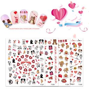 Día de San Valentín Art Art Sticker Sticker Set Autoadhesivo Romántico Nail Etiqueta de uñas DIY Nail Design Manicure for Women Girls