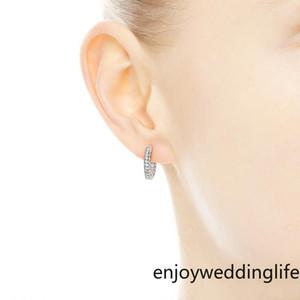 Stokta 2021 Kadınlar Erkek KÜPE Hediye Gelin Düğün Takı FY4322 için Pavé Kalp Hoop Küpeler 925 Gümüş küçük kulak halkası