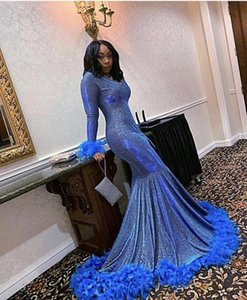 Sexy 2021 Arabic Evening Dresses Prom With Long Sleeve V-neck Mermaid Style Feathers Pageant Formal Dress African Black Girls Party Dress