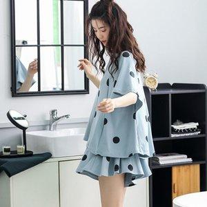 Pijama Kadınlar İlkbahar Yaz Kawaii Dot Basit Preppy Kız pijamalar Moda Yüksek Bel Gevşek Günlük Bayan Şort Set Soğuk ayarlar