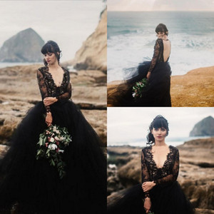 2021 Black Bohemia Wedding Dresses Sexy V Neck Backless Bridal Gonws Gothic Illusion Long Sleeves Tulle A Line Second Reception Dress AL7430