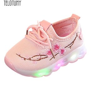 TELOTUNY Kids Baby Boys Girls Embroidery Flower Sport Fashion light casual shoes LED Luminous Shoes Sneakers Z0829