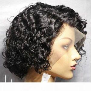 Wonderto Rizos Bob Encaje Frente Wigu 150 Desnity Pixie Cut Wigo Curly Curlg Humano Wigk Remy Brasileño Natural Rizado Shorty Wigy