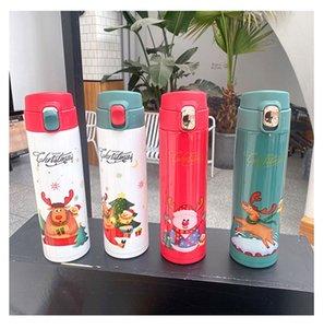 Viajes botella 16 oz de agua Navidad de la historieta de Santa Claus Elk Aislar vacío termo de acero inoxidable de café frasco de agua DDA645