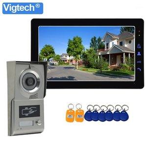 """Görüntülü Kapı Telefonları Vigtech Kablolu 9 """"Interkom Ev Kapı Telefonu Cihazı Sistemi için RFID Kapı Zili Kamera IR Gece Görüş Su Geçirmez1"""
