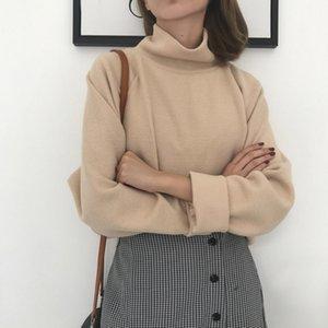 AECU pull à col roulé Printemps Automne tricot veste longue Pullovers femme Pull lâche manches Crocheté femme overs 201017