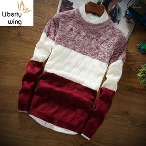Coreano autunno inverno mens o-collo maglioni casual maglioni moda manica lunga pannelli slim fit maschio pullover maschile maglia maglia cys plus size1