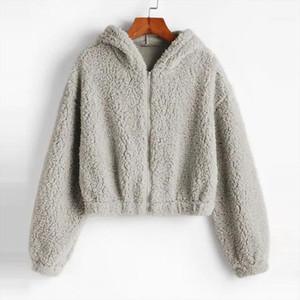Hoodies Women Plush Coat Autumn Winter Solid Faux Lamb Fur Sweatshirts Long Sleeve Collar Zipper Solid Pullovers Warm Tops 2020