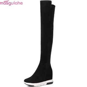 Masgulahe black fashion women autumn winter boots round toe zipper cow suede ladies boots height increasing over the knee