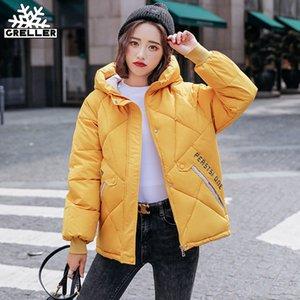 GRELLER New Autumn Winter Jacket Women Parkas Hooded Thick Down Cotton Padded Female Jacket Short Winter Coat Women Outwear 201020