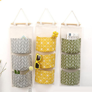 Wall Hanging Organizer Bags Cotton Linen Holder Storage Bag Door Hanging Sundry Bags Sundry Sorting Bags 3 Pockets Home Supplies
