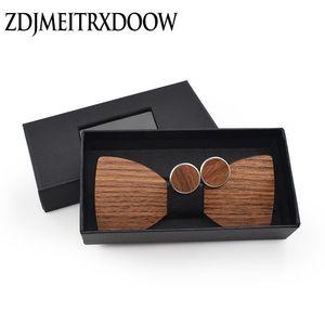 Men's Wood Bowtie Cufflinks Set Brand Business Wooden Bow Tie Neckties Cuff Links for Wedding Groom fliege pajarita