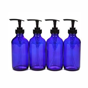 4, 8 унций, пустые, бутылки в кобальте синие стекла с черным лосьонным насосом для кухни ванная комната жидкостные мыло эфирные масла лосьоны 250 мл