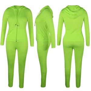 Kadın Tracksuit Suit Bayan Spor Takım Elbise 6 Stilleri Renkler Sarı Kırmızı Gri Siyah Floresan Yeşil Gül Kırmızı Rahat Survetement Femme