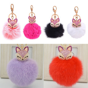 Cute Fox Fur Pearl Ball Rhinestone Key Chain RingKeyring Keychain Bag Car Charm ps1095