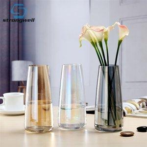 Shistwell Nordic Ins Красочные стеклянные вазы прозрачный Гидропонный Aurora Vase Простой Настольный Стекло Бутылка Домой Украшения Подарок LJ201208